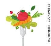 vegetables sticked on fork....   Shutterstock .eps vector #1007398588