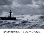 douro river mouth under heavy... | Shutterstock . vector #1007407228
