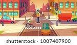 vector illustration of crossing ... | Shutterstock .eps vector #1007407900