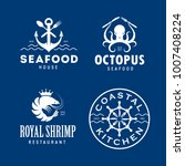 seafood related labels badges... | Shutterstock .eps vector #1007408224