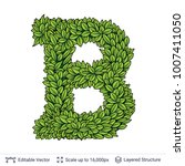 letter b symbol of green leaves.... | Shutterstock .eps vector #1007411050