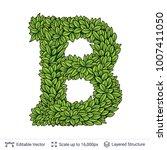 letter b symbol of green leaves.... | Shutterstock .eps vector #1007411050
