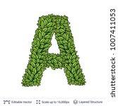 letter a symbol of green leaves.... | Shutterstock .eps vector #1007411053