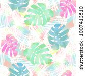 seamless pattern with palm... | Shutterstock . vector #1007413510