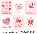 set of creative valentines day... | Shutterstock .eps vector #1007413939