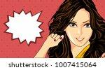 illustration of cute girl.... | Shutterstock .eps vector #1007415064