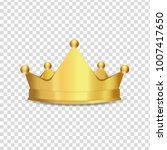 realistic gold crown isolated... | Shutterstock .eps vector #1007417650