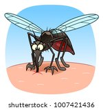 cartoon evil mosquito on the... | Shutterstock .eps vector #1007421436