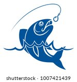 fish in water and fishing hook | Shutterstock .eps vector #1007421439