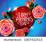 valentines day party flyer with ... | Shutterstock .eps vector #1007422513