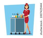 flying attendants   air hostess ... | Shutterstock .eps vector #1007425444