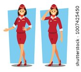 flying attendants   air hostess ... | Shutterstock .eps vector #1007425450