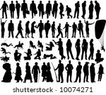 set of  people  silhouettes in... | Shutterstock .eps vector #10074271