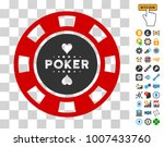 poker casino chip pictograph...