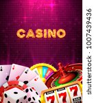 casino dice banner signboard on ... | Shutterstock .eps vector #1007439436