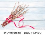 blossoming willow bouquet on a... | Shutterstock . vector #1007442490