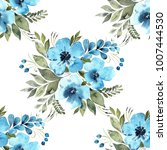 floral watercolor seamless... | Shutterstock . vector #1007444530