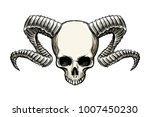 human skull with ram horns... | Shutterstock . vector #1007450230