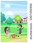male and female children... | Shutterstock . vector #1007450500