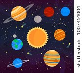 set with cute cartoon planets... | Shutterstock .eps vector #1007454004