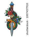 vector tattoo dagger with snake.... | Shutterstock .eps vector #1007457910