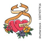 two loving hearts on tied with... | Shutterstock .eps vector #1007457916