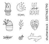 set of hand drawn cute modern... | Shutterstock .eps vector #1007463790