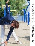 gymnastics in retirement.a nice ... | Shutterstock . vector #1007470354