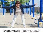 gymnastics in retirement.a nice ... | Shutterstock . vector #1007470360