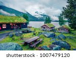 norwegian typical grass roof... | Shutterstock . vector #1007479120