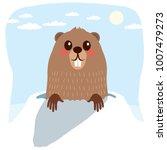 happy cute groundhog... | Shutterstock .eps vector #1007479273