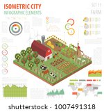 flat 3d isometric farm land and ... | Shutterstock .eps vector #1007491318