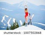 rear view girl skier wearing... | Shutterstock . vector #1007502868