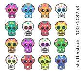 mexican calavera skulls set.... | Shutterstock .eps vector #1007508253