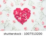 heart shape made of flowers on... | Shutterstock . vector #1007513200
