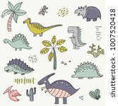 cartoon pattern with dinosaurs. ... | Shutterstock .eps vector #1007520418