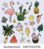 set of fashion patches  fun... | Shutterstock .eps vector #1007523190