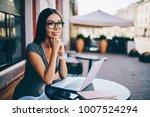 pensive young woman in eyewear... | Shutterstock . vector #1007524294