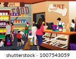 Stock vector a vector illustration of people shopping for their pets at pet shop 1007543059