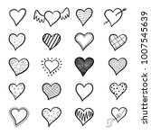 hand drawn hearts icon set | Shutterstock .eps vector #1007545639
