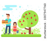 a happy family collects apple... | Shutterstock .eps vector #1007547760