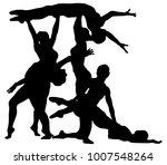 black silhouette of girl... | Shutterstock .eps vector #1007548264