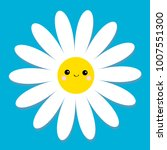 white daisy chamomile with face ... | Shutterstock .eps vector #1007551300