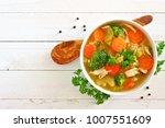 homemade chicken vegetable soup ... | Shutterstock . vector #1007551609