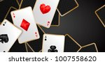 Banner with four aces and a several back side playing cards on black background. Winning poker hand