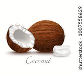 whole coconut half and oil.... | Shutterstock .eps vector #1007558629