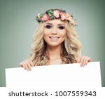 beautiful smiling woman with... | Shutterstock . vector #1007559343