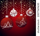 christmas background with balls ... | Shutterstock .eps vector #1007569630