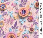 3d rendering  paper flowers ...   Shutterstock . vector #1007577214