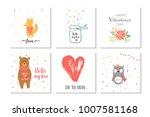 lovely set of 6 valentines day... | Shutterstock .eps vector #1007581168